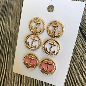 ⚓️ Anchor Earrings Set Of 3 ⚓️