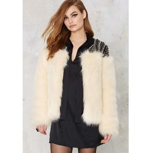 By Storm Studded Faux Fur Jacket
