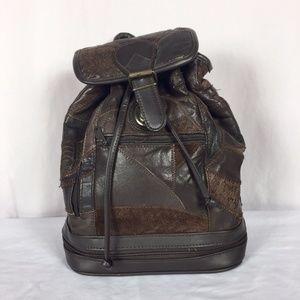 Vintage Brown Vegan Patchwork Leather Backpack