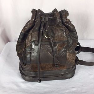 2b6a016a7e17 Vintage Bags - Vintage Brown Vegan Patchwork Leather Backpack