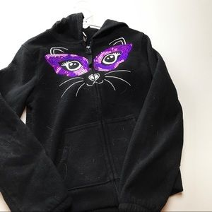 Old Navy Black Cat Kitty Sweatshirt Girls Size 6-7