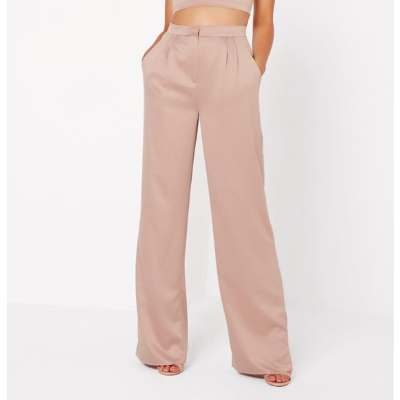 Missguided Pants - Nude satin wide leg pants