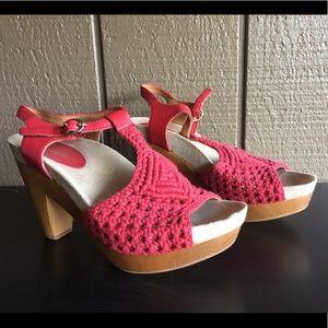Earthies Red Amalfi Crocheted Platform Sandals