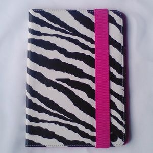 Pink & Zebra Print Leather IPAD Tablet Case Stand