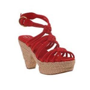 DANIBLACK Olsa Platform Sandal Red Suede