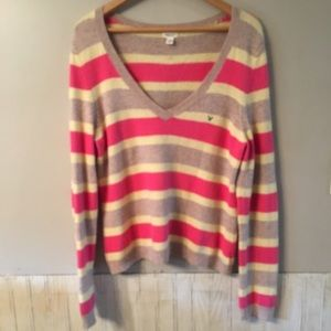 Sweaters - AE CASHMERE ANGORA WOOL BLEND STRIPED VNECK