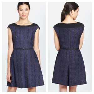 Cynthia Steffe Boucle sequin fit & flare dress