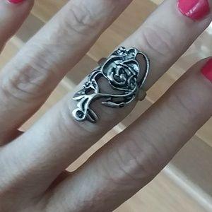 Jewelry - Large oxidized Tibetan silver tribal Flower Ring 7