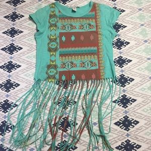 Crop top with Southwestern Print and Fringe