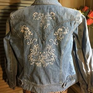 Coldwater Creek denim embroidered jacket