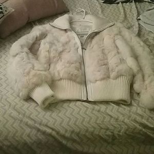 100% rabbit fur bomber white coat