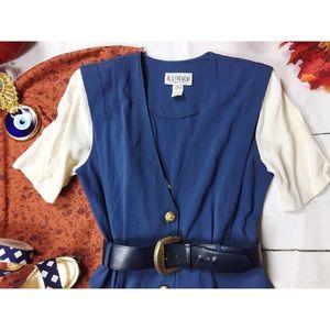 Vtg 80s Button Down Maxi Plunge Neckline Dress M