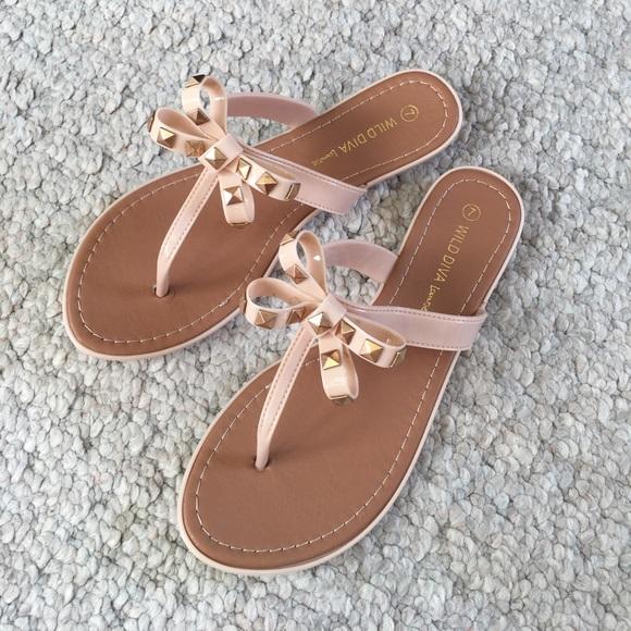 a422e3e137fa Wild Diva Studded Bow Flip Flops Thong Sandal