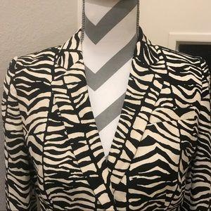 Calvin Klein cream & black animal print blazer