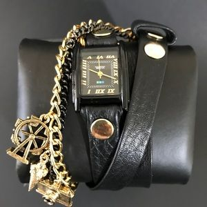 La Mer collection black leather watch