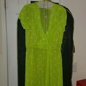 Lime green with White Dots Dress