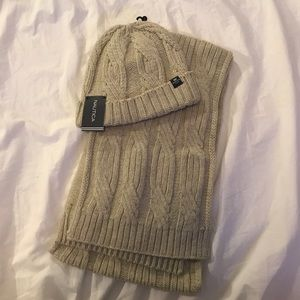Cable Knit Nautica matching Hat and Scarf
