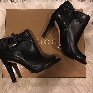 Gucci Black Leather Peep Toe Bootie