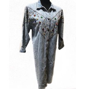 Vintage studded acid washed Denim dresss