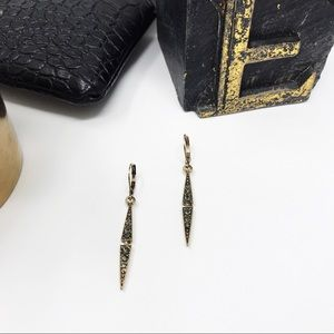 | GREY PAVÉ ANTIQUED GOLD EARRINGS |