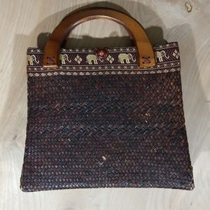 Handbags - Vintage Woven Tote Embroidered Edge