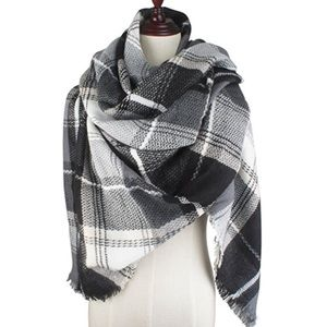 Accessories - Blanket Scarf Plaid Black Grey White Wrap Gift
