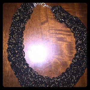 Jewelry - Black & Gold Beaded Bib Necklace