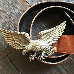 RAINA BELT LEATHER EAGLE BELT BUCKLE BRASS