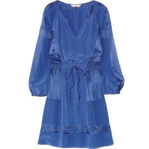 Rebecca Taylor Paneled Silk Satin Tie Waist Dress
