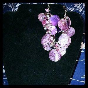 """Jewelry - Purple Shell Bracelet 9.5"""" Long NWOT"""