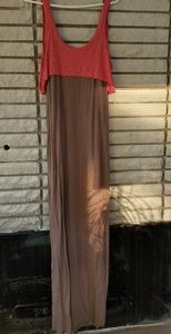 Free People pink and beige maxi dress