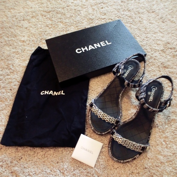 27bf4bb2c4bdb CHANEL Shoes - Chanel tweed chain-link sandals