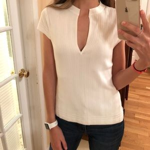 RAG & BONE White detailed short sleeve top size m