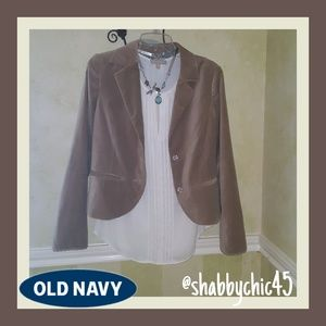 Old Navy Beige Velour Lace Trimmed Blazer