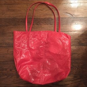 Saks Fifth Avenue Red Faux Snakeskin Tote Bag
