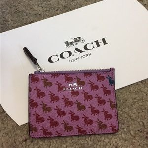 NWT Coach purple bunny print cardholder