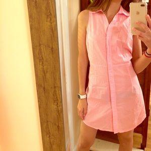 JULIE BROWN pink pinstrip shirt dress size 8