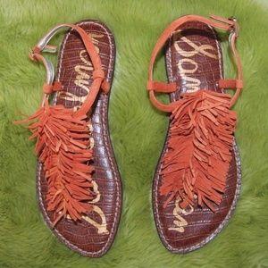 Sam Edelman Gela Sandals Boho Fringe Orange 8