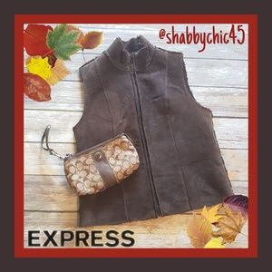 Express Shearling Suede Zippered Vest