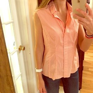 HUGO BOSS orange pin strip blouse size 6
