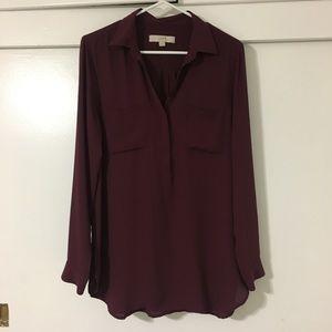 Ann Taylor LOFT burgundy blouse