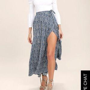 beautiful tempest navy blue print wrap maxi skirt