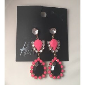 H&M • Black and Pink Rhinestone Earrings