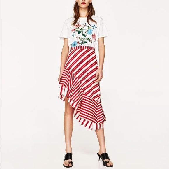 c1077fef0f Zara Skirts | Red Ecru Striped Skirt With Frill | Poshmark