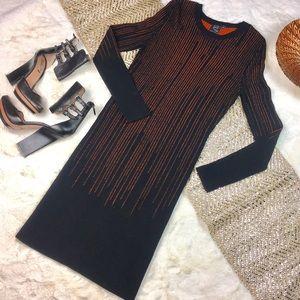 Alexander McQueen black orange knit dress M NWOT
