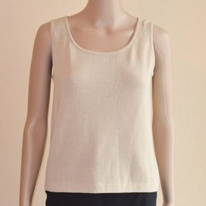 St. John Beige Santana Knit Scoop Neck Tank