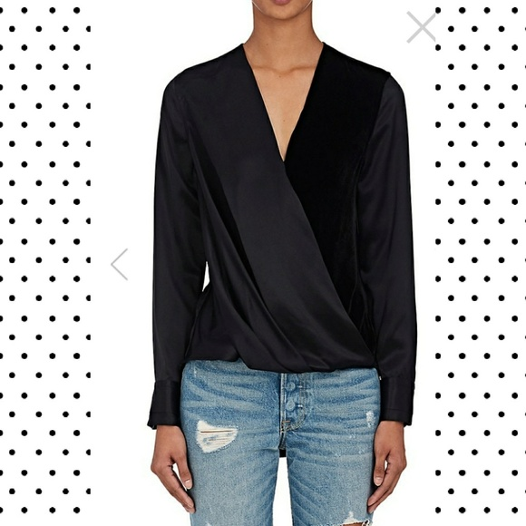 989afd0abcb81f rag & bone Tops | Rag Bone Velvet And Satin Victor Blouse Medium ...