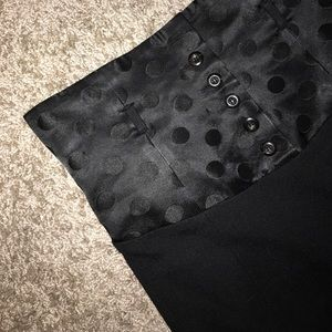 Long Polkadot Black Pencil Skirt