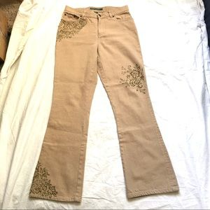 Ralph Lauren Tan Stretch Denim Jeans Gold Details
