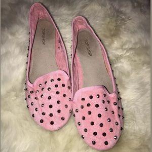 Topshop Studded Pink Ballet Flats 40